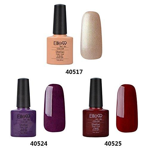 Elite99-Shellac-UV-LED-Gel-auflsbarer-Nagellack-73ml-3-Farben-nude-lila-Rot-Nagelgel-Farbgel-Farblack-3-x-73ml-0