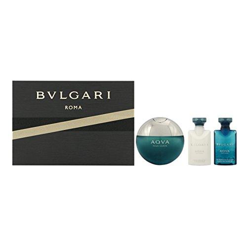 Bvlgari Aqva Homme Set (Eau de Toilette, 50ml, After - shave Emulsion, 75ml plus Shampoo und Shower Gel, 75ml), 1er Pack