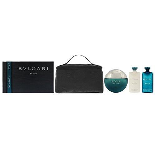 Bvlgari Aqva Herren Parfum, After Shave Balsam, Duschgel und Kosmetiktasche–1Pack